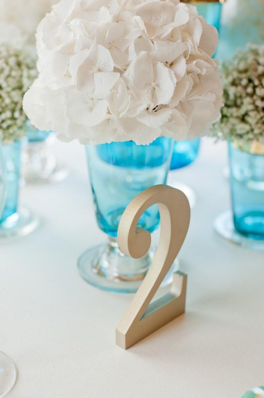 wedding, flowers, centrepieces, white, teal, hydrangea, gold details