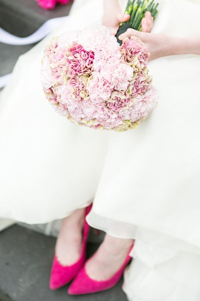 Boutique Blooms, floral design, styling, pink wedding, pink shoes, pink carnation bouquet, Nonsuch Mansion